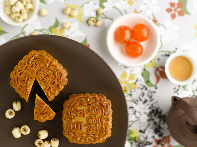 Traditional baked mooncakes from Tea Hut at InterContinental Singapore