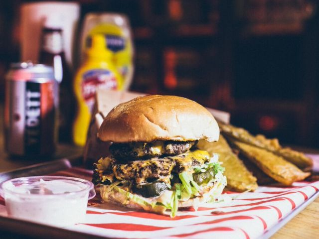 The Dead Hippie Burger - a sinfully delicious smorgasbord of juicy mustard-fried beef patties and dead hippie sauce