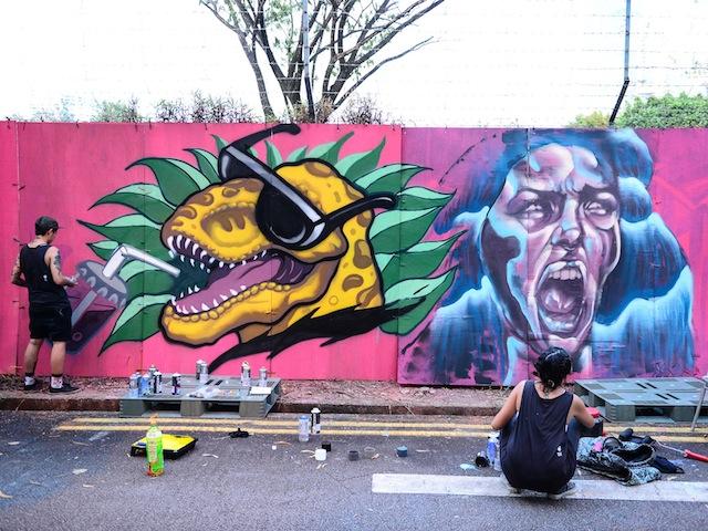 Live graffiti at Sunday at the Training Shed