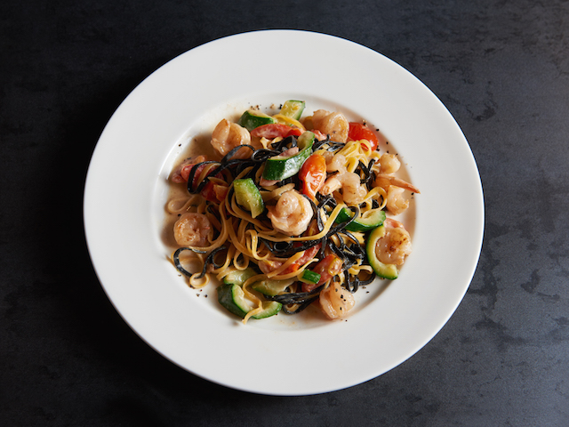 Egg and squid ink tagliolini with shrimp and zucchini; Bottura, Singapore