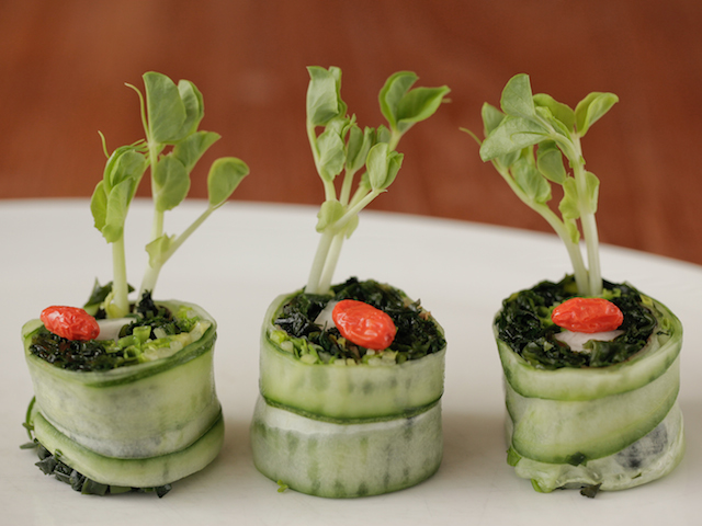 Cucumber sushi - one of the wholesome creations served at Kamalaya