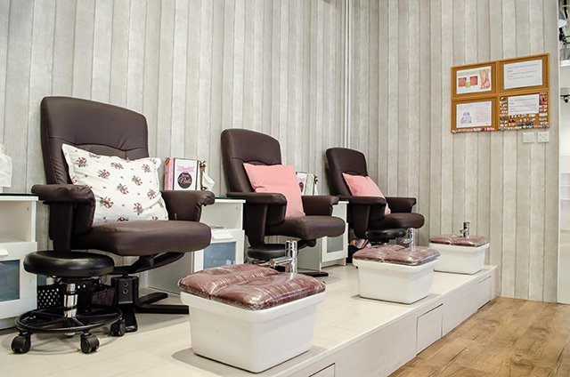 The cosy interior of Home Nails