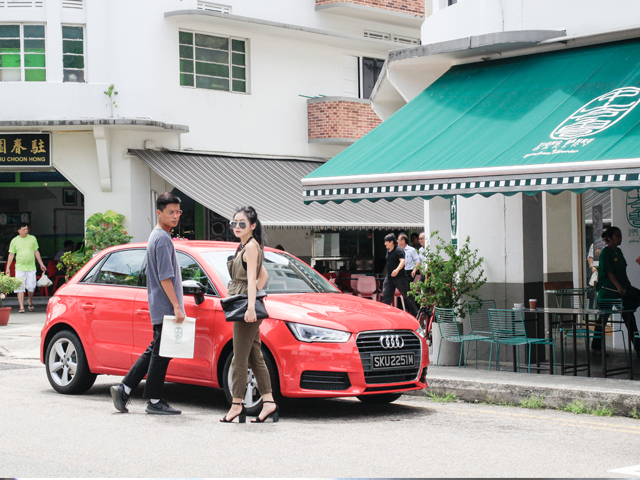 Making our morning coffee run with our beautiful Audi at Tiong Bahru Bakery