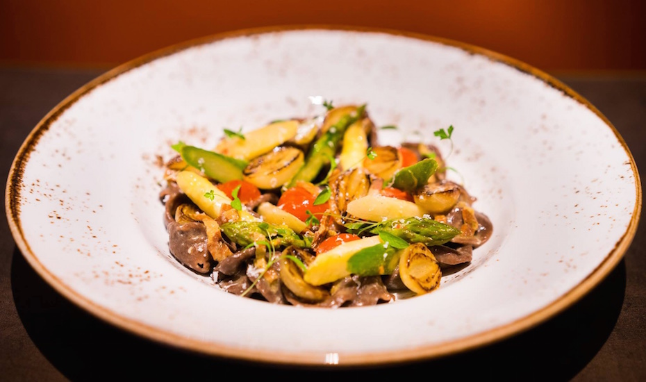 Burnt wheat orecchiette with asparagus and guanciale at Aura (via Facebook)