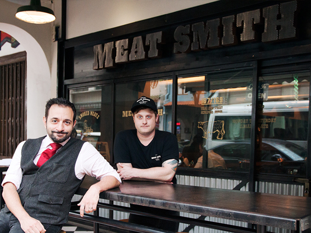 Chef Andrew Baldus (right) and group general manager Emmanuel Benardos (left) at MeatSmith