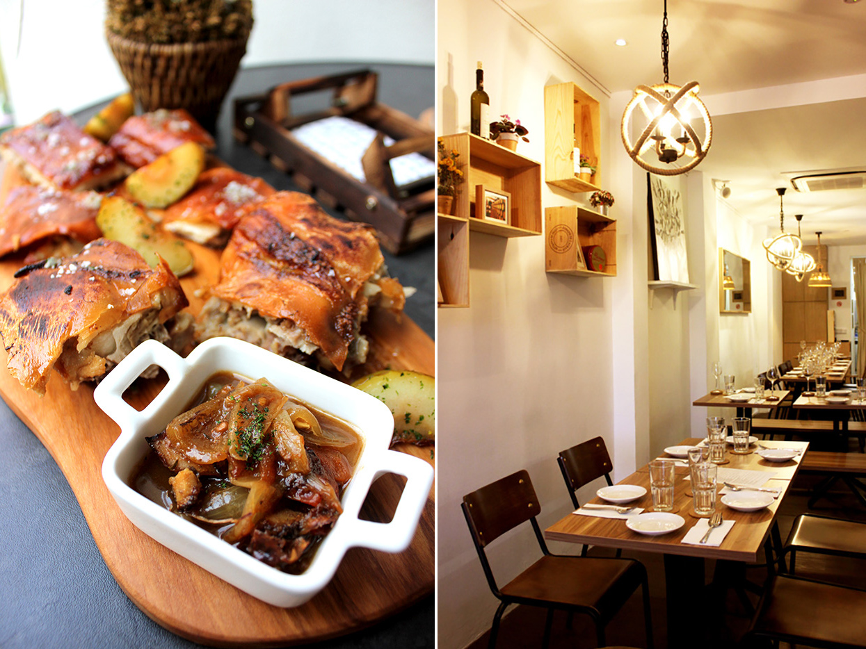 Delicacy's chilled out, cosy interior and the incredible of Iberico pork collar, baked apple and kimchi aioli
