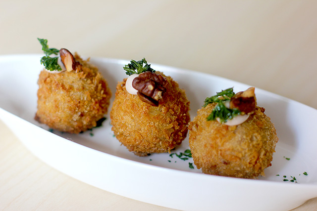Comforting walnut croquetas with truffle mayo