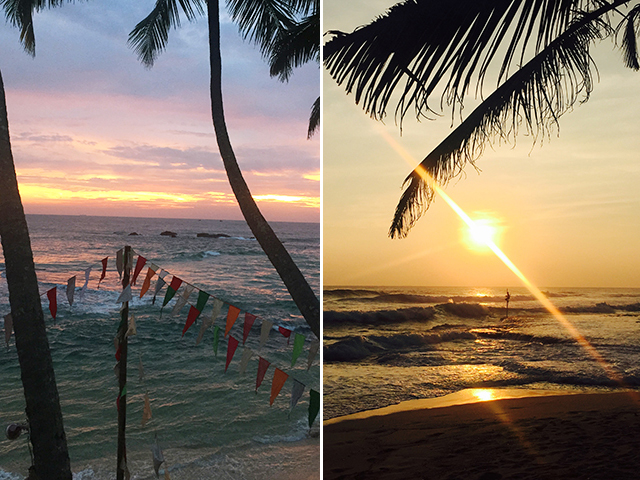 The sunset from Wijaya Beach bar (left) and Thalpe Beach Club (right)