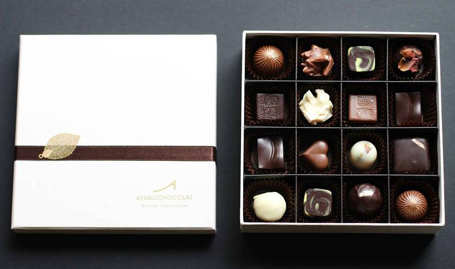 An artful (and delish looking) box of Anjali Chocolat