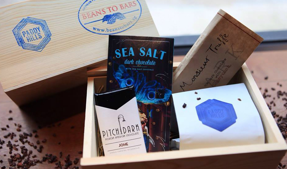 Gift box with Beans to Bars chocolates and Paddy Hills' Confections