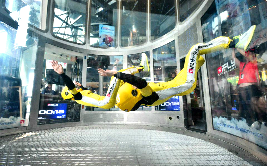 Feel the rush of skydiving at the world's first indoor wind tunnel (Credits: iFly Singapore)