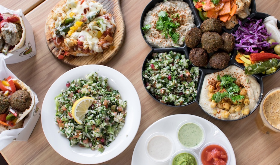 A smorgasbord of vegetarian options at Pita Pan (via Facebook)
