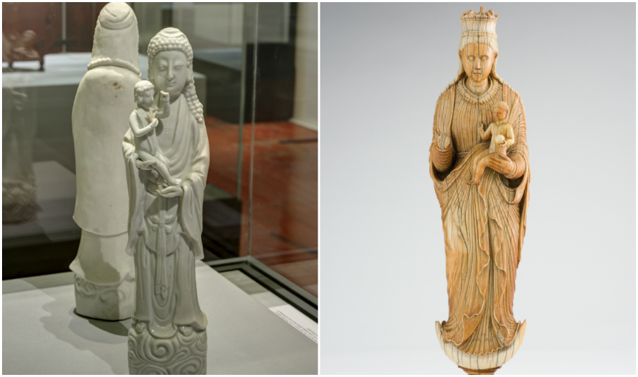 Left: Virgin and Child, China, Dehua, 1690–1710; Right: Virgin and Child, Sri Lanka, mid-16th century