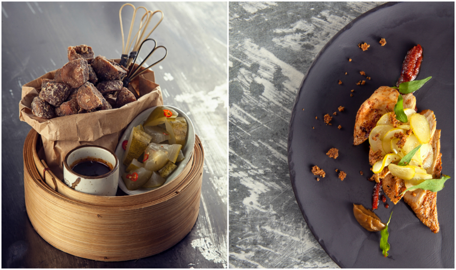 L: Five-spice lamb tongue with black pepper sauce. R: Homemade banana bread with duck liver and kimchi