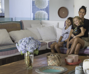 Lindy at home with her kids