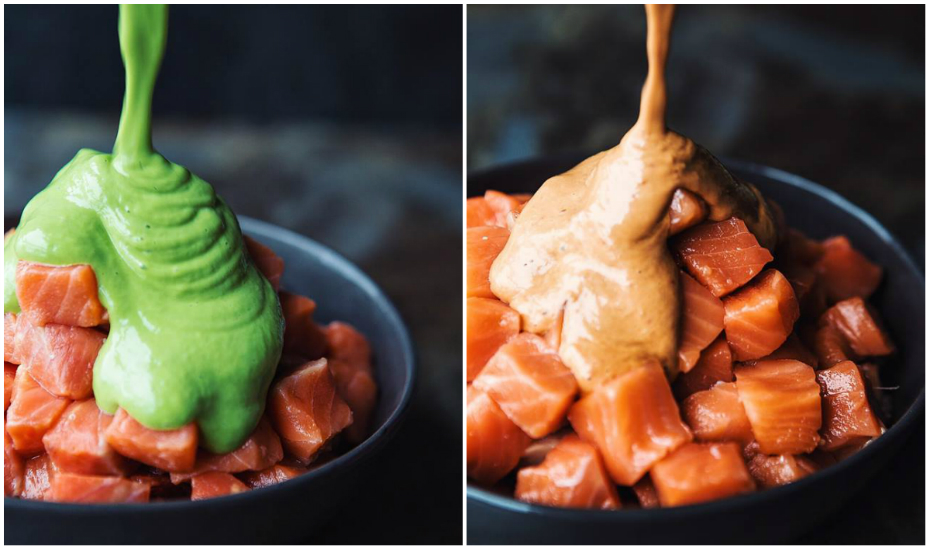 Left: Avocado miso salmon bowl. Right: Spicy mayo salmon bowl