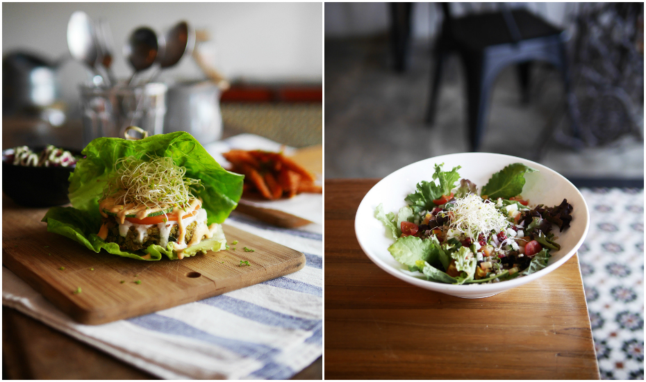 Quinoa and spinach 'hash brown' burger and herbed quinoa salad bowl from Afterglow