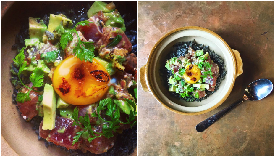 The Dapper poke don - squid ink rice, tuna and avocado poke, as well as caramelised egg yolk (Credit: Dapper Coffee via Facebook)