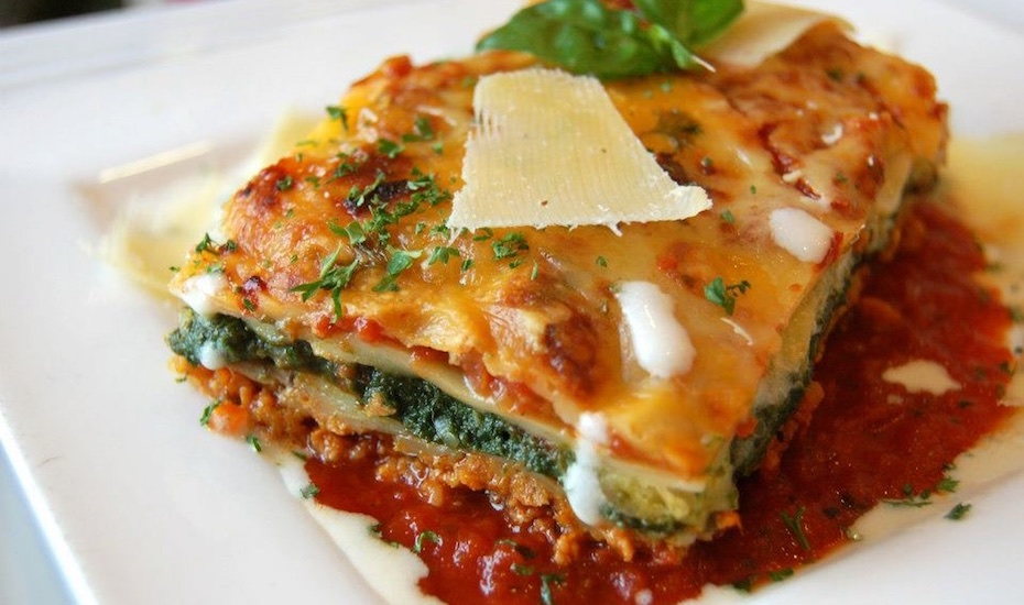 Vegetarian lasagne at Cafe Salivation