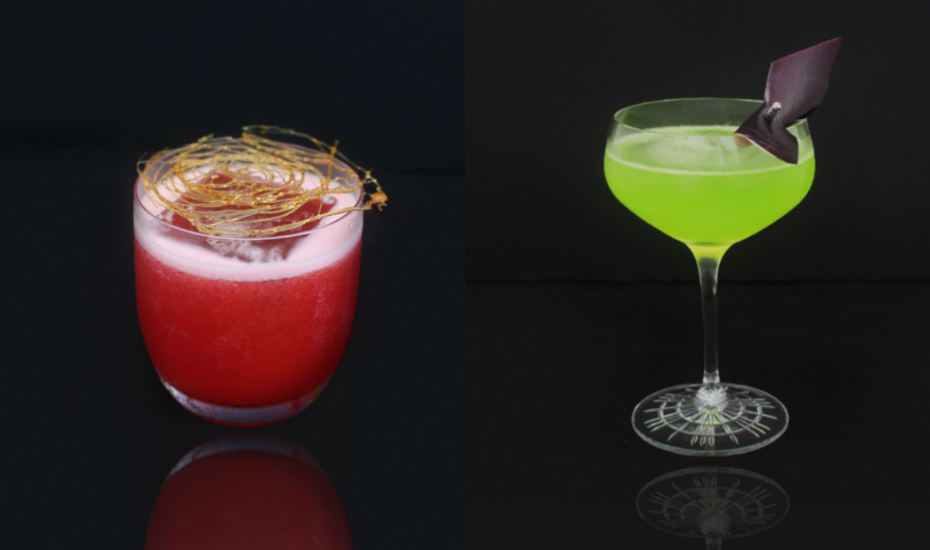 Sip on Japanese Halloween cocktails like the Chi (left) and Kappa (right) at Caché