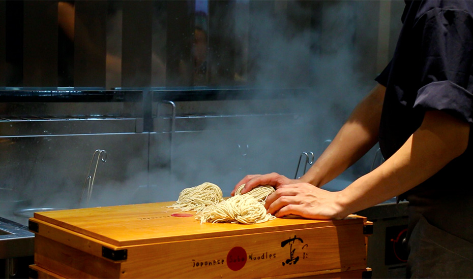 The noodles are prepared right in front of you