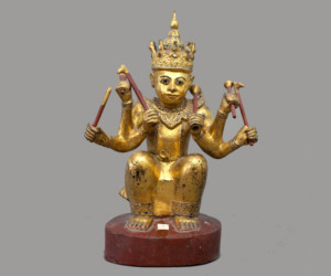 Lat Lay Pat Nat. Myanmar, 20th centuryWood, lacquer, paint, gold, glass, 52 x 39 cm