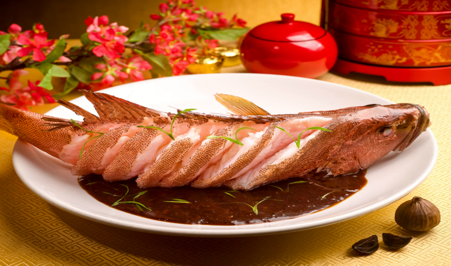 Wan Hao's steamed red garoupa with black garlic sauce