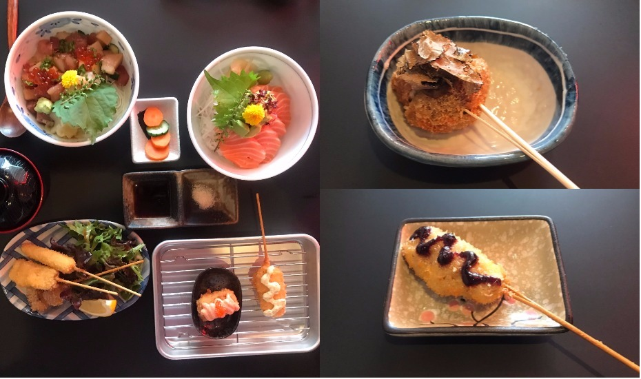 A spread of sashimi, salad and kushikatsu at Panko restaurant. Top right: chicken truffle. Bottom right: foie gras with blueberry sauce.