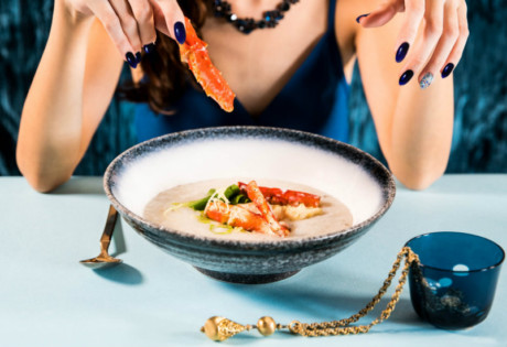 Keeping it fancy with Alaskan crab premium congee with abalone.