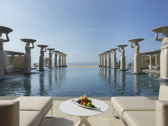 The Mulia's beachfront pools and ocean frontage are famous across Bali