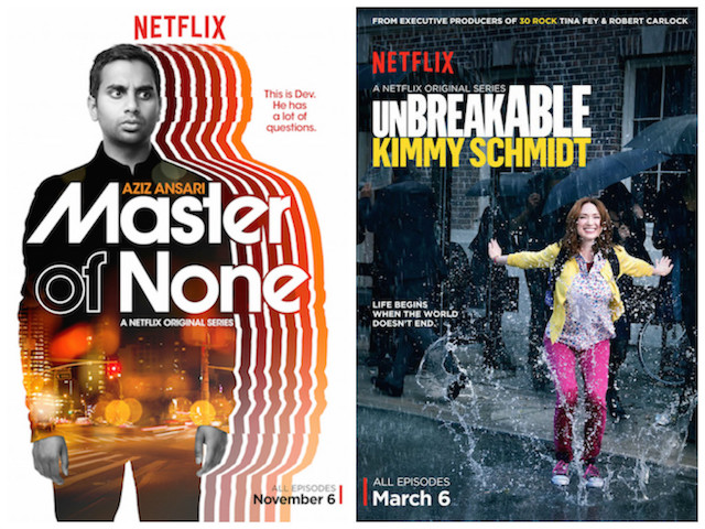 Poster for Master of None and Unbreakable Kimmy Schmidt. Photo: Courtesy of Netflix