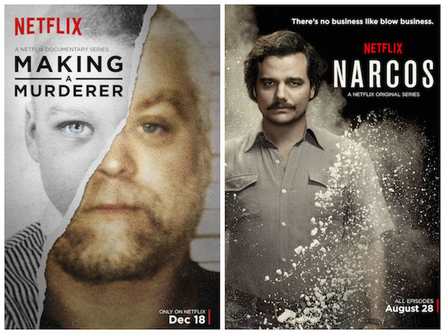 Poster for Making A Murderer and Narcos. Photo: Courtesy of Netflix