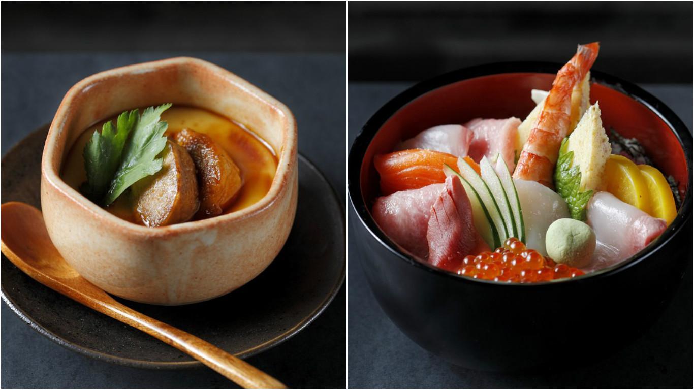 Foie gras chawanmushi and chirashi. Image Credit: Takumi Robata Sushi