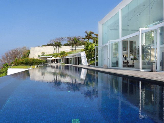 Dive straight into the infinity pool from your bedroom at Villa Latitude, Bali