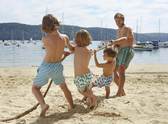Tom & Teddy's premium swimwear features fun prints in vibrant colours.