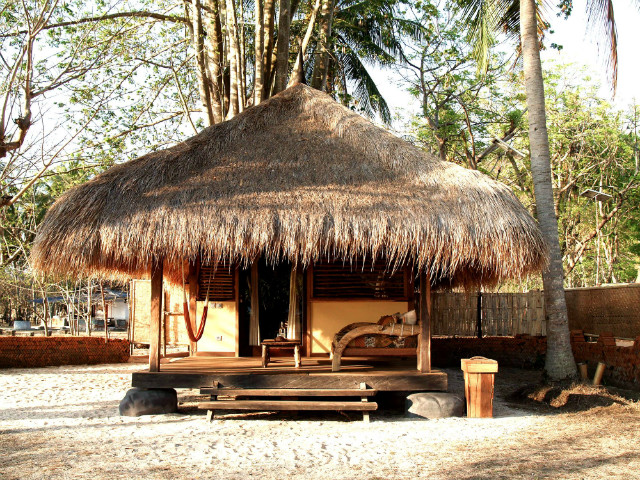 On Gili Ashan Eco Lodge you can stay in bales, or this lush little bungalows