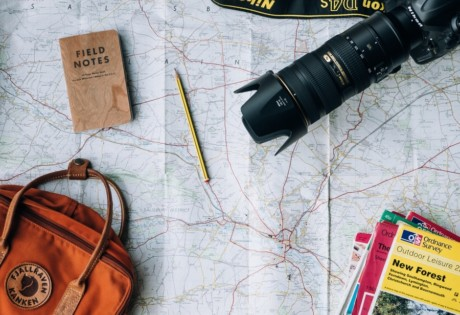 travel tips map and camera