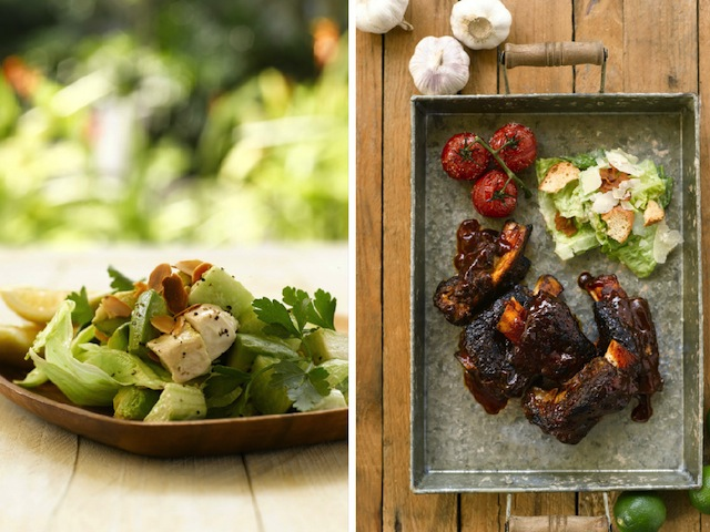 poached chicken salad and slow-roasted beef short ribs.