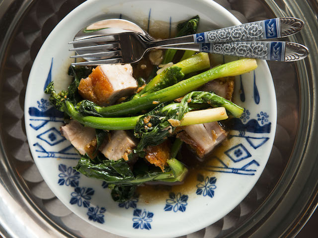 Stir-fried pork with Chinese broccoli at Long Chim