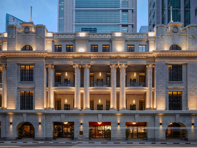 The historical facade of Sofitel So Singapore