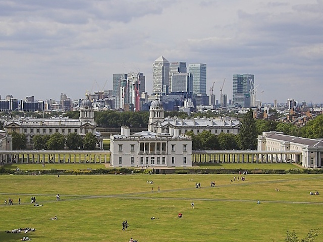 View of the Canary Wharf from Greenwich Observatory, London