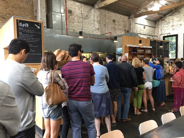 Queuing up for serious breaded goods at Kitchen By Mike