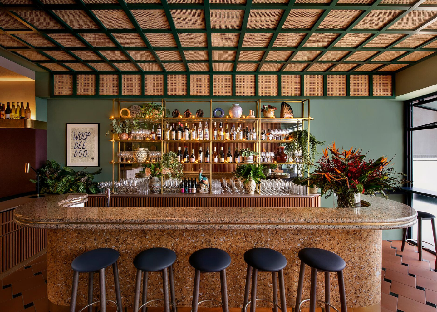 bar counter with liquor bottles