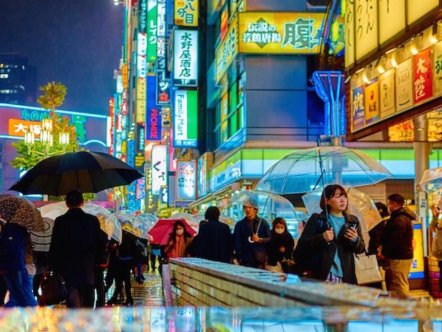 Tokyo's nightlife is always bustling, rain or shine. (Credit: Moyan Brenn)