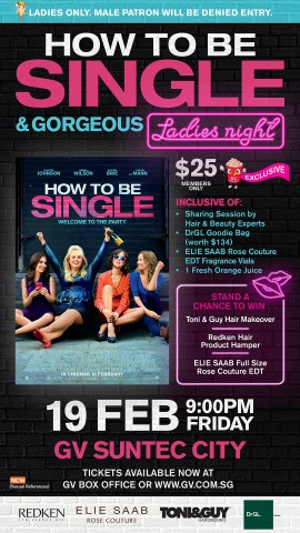 Its a girls night out at the golden village how to be single and you stand to win a toni guy hair makeover session worth 150 a redken hair product hamper worth 80 and a full sized 90ml elie saab rose couture ccuart Choice Image