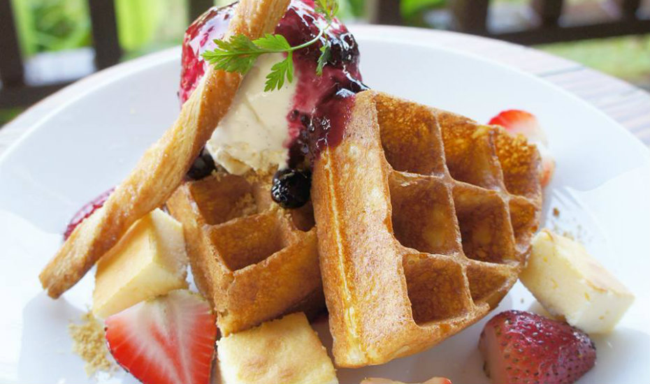 This waffle stack even has cheesecake bits in it (Photography via Whisk and Paddle)