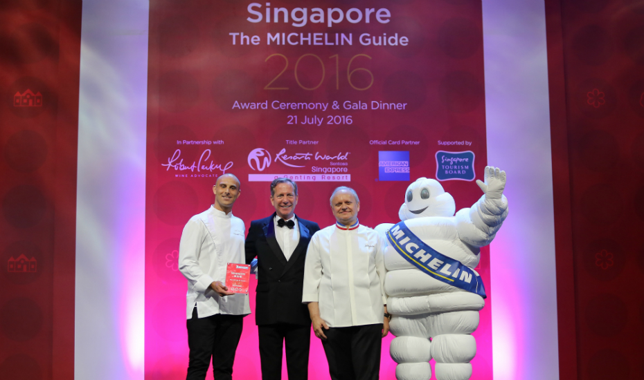 The sole recipient of the three-star award: Joël Robuchon