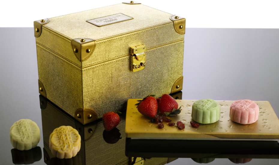 The mooncakes from Golden Peony come in a gorgeous gold box