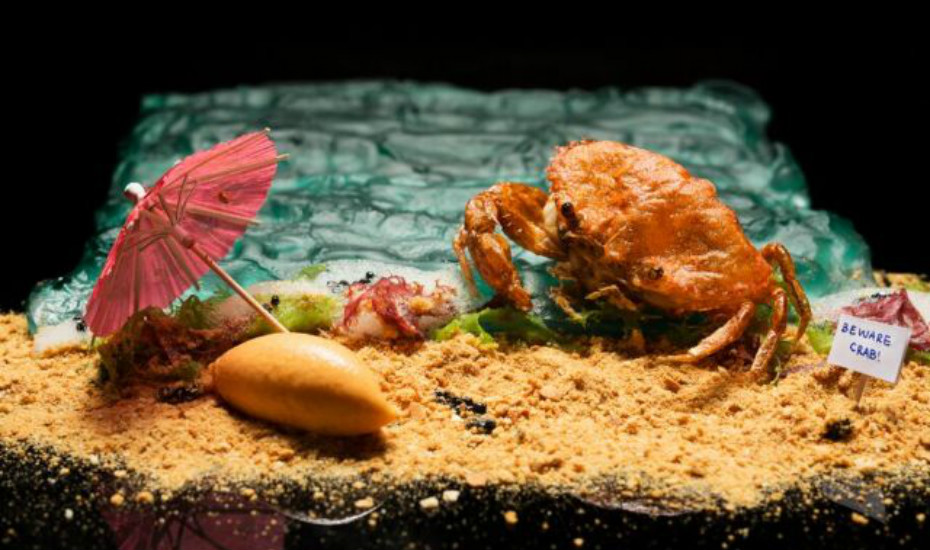 The famed Chilli Crab from Labyrinth is a dazzling combination of crunchy soft shell crab, fiesty ice cream and mantou crumbs
