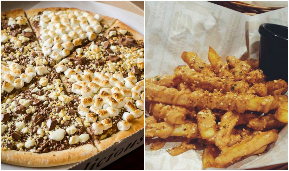 You can also indulge in peanut butter in pizzas (left: Max Brenner) and fries (right: Tino's Pizza Cafe)